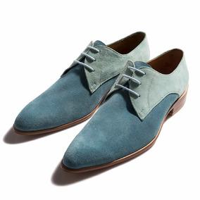 Zapato Acordonado En Gamuza Celeste