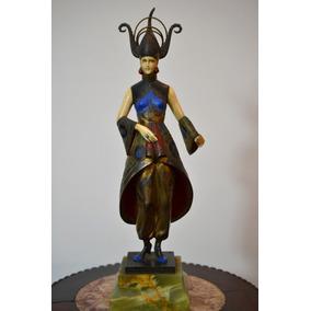 Antigua Bailarina Escultura Bronce Y Marfil Figura Art Deco