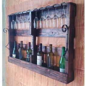 Porta Copas Hecho Con Tarimas, Para 10 Copas, 8 Botellas