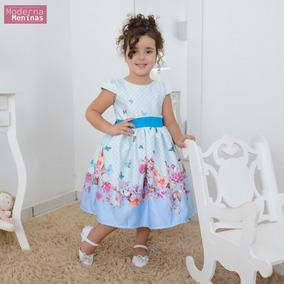 Vestido Infantil Floral Com Rosas E Borboletas Azuis