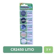 5 Pilas Cr2450 Litio 3v. Sensores Alarma Reloj Balanza Llave