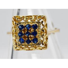 Antiguo Anillo Cuadrado Oro 18 Kilates Zafiros Azules