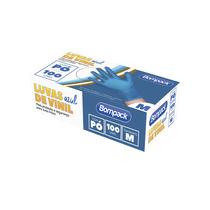 Luva Procedimento Vinil Azul M Talc. Bompack 100un