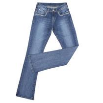 Calça Jeans Feminina Com Elastano E Bordados Nos Bolsos - Wr