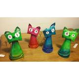 Gatos En Papel Maché Y Alambre - Distintos Colores