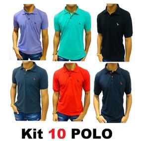 Kit C/10 Camisas Camisetas Atacado Gola Polo Masculina Frete
