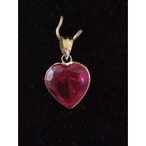 Pingente Coração Cor Rubi De Ouro 18k 10mm