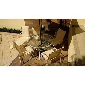 Jogo De Mesa 4 Cadeiras Aluminio Piscina Tela Área Externa