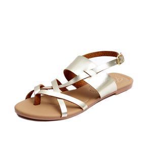 Zapatos Sandalias Huaraches Dama Zapatillas Moda Oro 1205