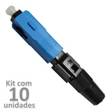 Kit 10un Fast Conector Fibra Ótica Sc-upc Azul Reutilizável