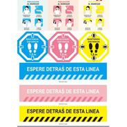 Kit Completo Stickers Para Piso Distanciamiento Y Protocolo