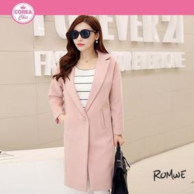 Abrigo, Saco Casual Rosa De Lana/ Moda Coreana| Corea Chic