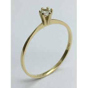 Anel Solitário Ouro 18 Kl 750 Milésimos 1 Pedra Zirconia.