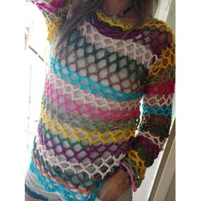 Remera M/l Tejido Crochet Hilo Gris O Marrón Nuevo Mujer