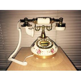 Telefono Modelo Antiguo Resina Flores Blanco Rediscado 20 Cm
