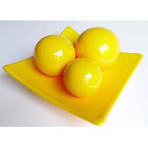 Cesta Decorativa Com Trio De Bolas Amarelo Em Ceramica