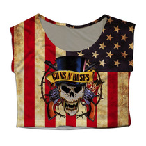 Top Cropped Mini Blusa Bandeira Usa Rock Guns N Roses Slash