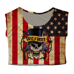 Top Cropped Mini Blusa Bandeira Usa Rock Guns N Roses Slash
