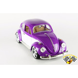 Miniatura Wolks Fusca Roxo E Branco Tunado 1:18 Vw Beetle