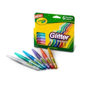 Canetinha Com Glitter 06 Cores Ganhe Copo Crayola