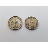 2 Monedas De Plata - Guatemala - 5 Centavos - 1945