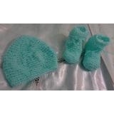 Escarpines Con Gorro Bebe -tejidos Al Crochet