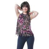 Blusa Botones Morada Leopardo Saints Clothes