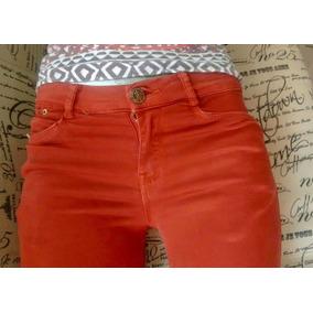 Pantalon Color Ladrillo Stretch Marca Bershka