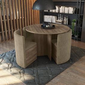 Sala De Jantar Nira Com Mesa Redonda E 4 Cadeiras Kappesberg