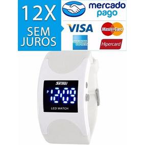 Relógio Digital Led Sport Bracelete Pulseira Silicone Branco