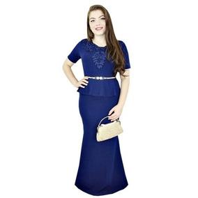 Vestido Moda Evangélica Longo Sereia Manga Longa Vsml