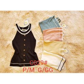 1e89fae2b4 Blusas Femininas Regata Trico Com Botaos Verão Moda. 5 cores