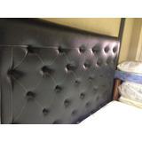 Box Matrimonial1.40 Con Copete Semicuero Cama Moderna Negro