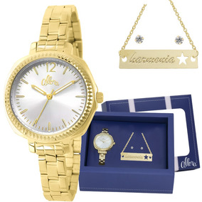 Kit Relógio Allora Feminino Com Colar Brincos Al2035ezm/k4k