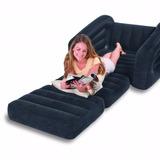 Sillon Sofa Cama Sencillo Inflable Intex Negro 100kg