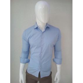 Camisa De Vestir Lisa Para Caballero En Color Azul Cielo