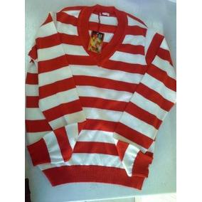 Blusa De Malha Modal Decote V Listrada Branco Com Vermelho
