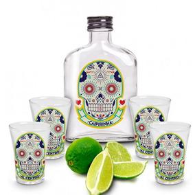 Kit Garrafa E 4 Copos Dose Shot Tequila Caveira Mexicana