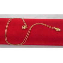 Cordao De Ouro Amarelo Com Pingente De Perola 18k-750