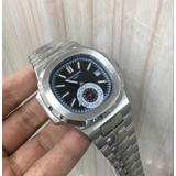 Relógio Patek Philippe Geneve Prata Dial Preto Frete Grátis