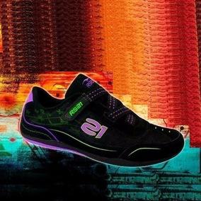 Zapatos Deportivos Damas Rs21 Negro Morado Talla 37 Original