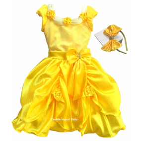 Vestido Festa Princesa Luxo A Bela E A Fera Com Tiara E Luva
