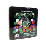 Kit Poker 100 Fichas 2 Baralhos Botão Dealer Na Lata . 0833