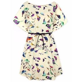 Tsuki Moda Asiatica: Vestido Corto Casual Pajaritos Aves