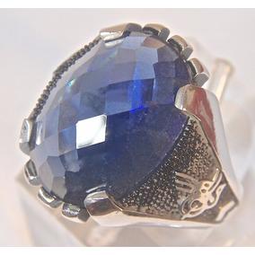 Rsp J5211 Anel Oriental A Prata 925 Com Safira Azul Artesana
