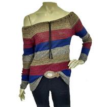 Blusa Feminina De Tricot Colorida Ombro A Ombro Ciganinha