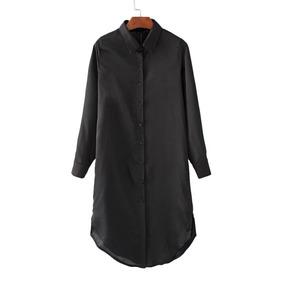 Camisa Larga Tipo Kimono De Seda Importada Bordada
