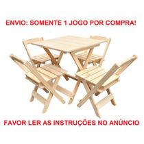 Jogo De Mesa Restaurante Bar 70x70 C/ 4 Cadeiras Madeira