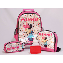 Kit Mochila Minnie Mouse Rodinhas + Lancheira Tam (g)