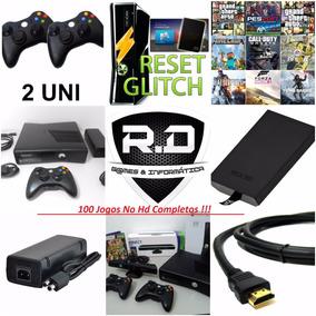 Xbox 360 Slim Semi-novo+ Hd 250gb+ 100jogos+kinect+2contro
